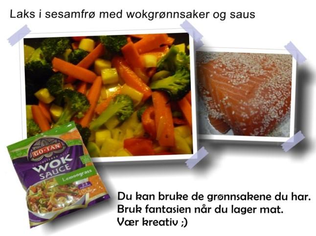 Laks i sesamfrø med wokgrønnsaker