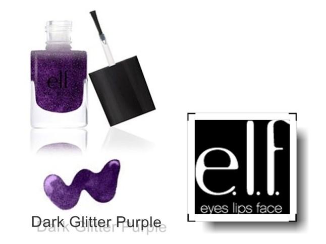 elf nail polish dark glitter purple