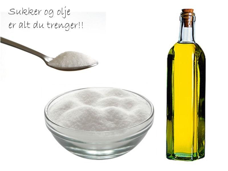 Mild peeling med olje og sukker